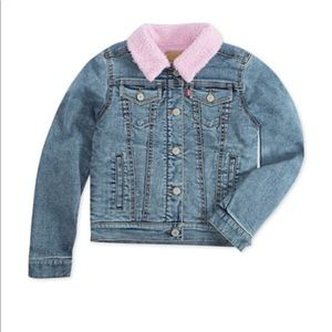 Levi's Pink Sherpa Lined Faded Denim Jacket